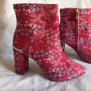 Ted Baker Red Satin Embroidery Block Heel Booties